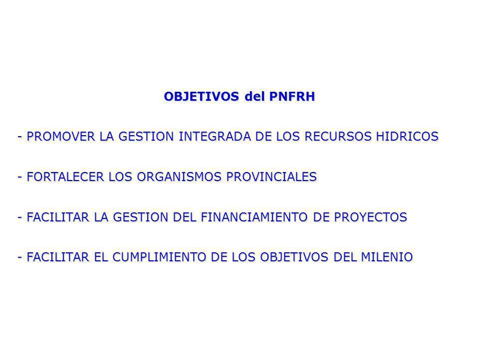 OBJETIVOS del PNFRH - PROMOVER LA GESTION INTEGRADA DE LOS RECURSOS HIDRICOS - FORTALECER LOS ORGANISMOS PROVINCIALES - FACILITAR LA GESTION DEL FINANCIAMIENTO DE PROYECTOS - FACILITAR EL CUMPLIMIENTO DE LOS OBJETIVOS DEL MILENIO