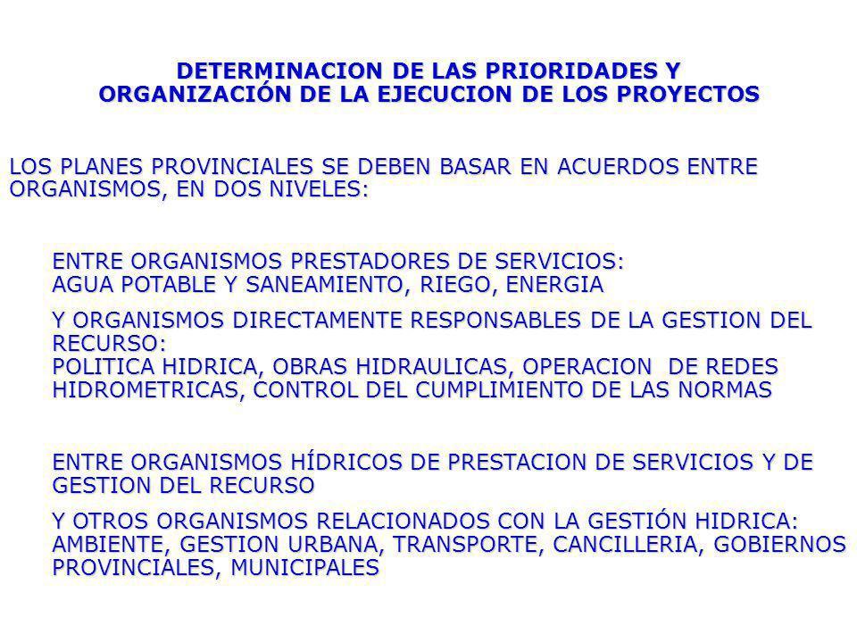 DETERMINACION DE LAS PRIORIDADES Y ORGANIZACIÓN DE LA EJECUCION DE LOS PROYECTOS LOS PLANES PROVINCIALES SE DEBEN BASAR EN ACUERDOS ENTRE ORGANISMOS, EN DOS NIVELES: ENTRE ORGANISMOS PRESTADORES DE SERVICIOS: AGUA POTABLE Y SANEAMIENTO, RIEGO, ENERGIA Y ORGANISMOS DIRECTAMENTE RESPONSABLES DE LA GESTION DEL RECURSO: POLITICA HIDRICA, OBRAS HIDRAULICAS, OPERACION DE REDES HIDROMETRICAS, CONTROL DEL CUMPLIMIENTO DE LAS NORMAS ENTRE ORGANISMOS HÍDRICOS DE PRESTACION DE SERVICIOS Y DE GESTION DEL RECURSO Y OTROS ORGANISMOS RELACIONADOS CON LA GESTIÓN HIDRICA: AMBIENTE, GESTION URBANA, TRANSPORTE, CANCILLERIA, GOBIERNOS PROVINCIALES, MUNICIPALES