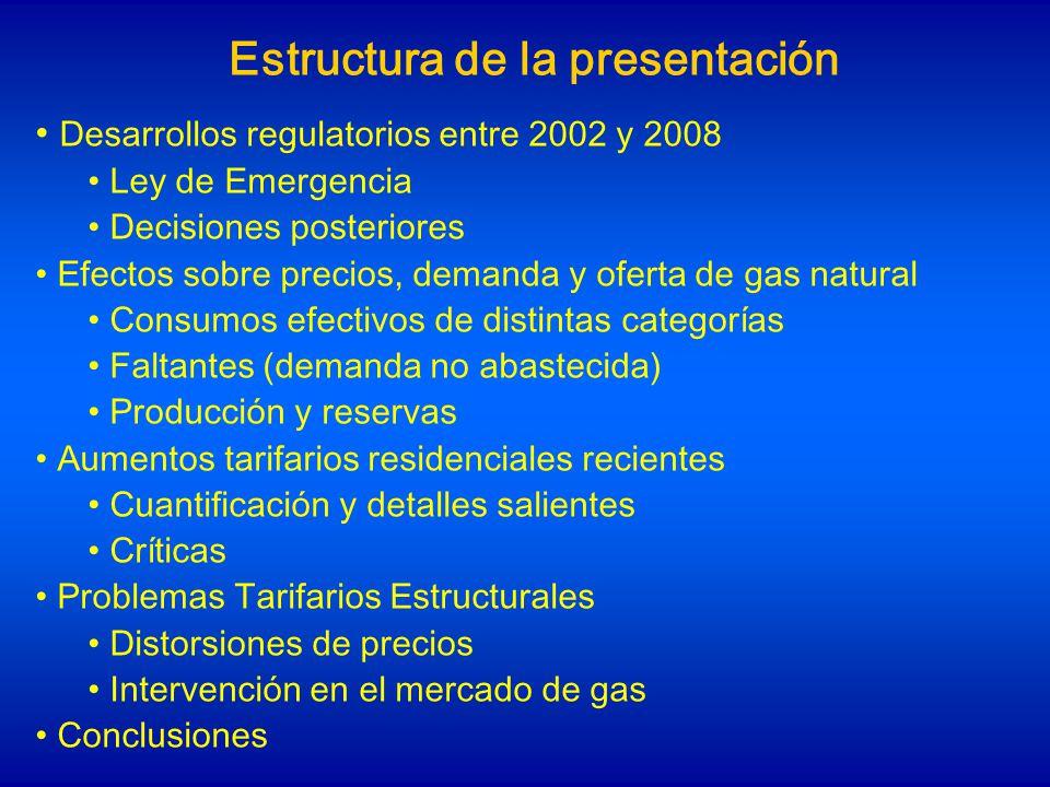 Desarrollos regulatorios entre 2002 y 2008 1.Ley de Emergencia, Enero 2002: Congela tarifas y precios de contratos de gas natural (no de GLP, ni combustibles líquidos) 2.Serie de Resoluciones SE (desde 2004): frente a exceso de demanda de gas, se ordenan prioridades de abastecimiento, favoreciendo consumo residencial, comercial, GNC y parte de la generación eléctrica, con precios regulados artificialmente bajos 3.Conceptualmente, hay un rechazo a que los precios reflejen la escasez (y den señales a consumidores e inversores), y se distribuye la carga de abastecer la demanda doméstica priorizada entre productores (resto de la demanda pasa a ser no-firme)