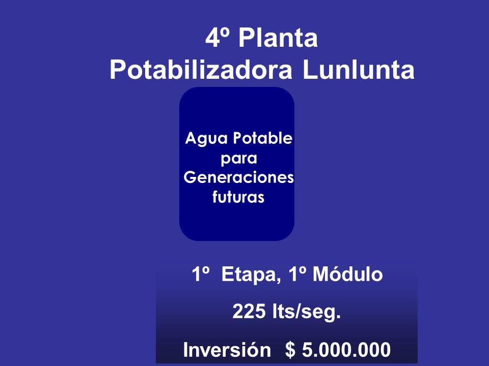 4º Planta Potabilizadora Lunlunta 1º Etapa, 1º Módulo 225 lts/seg. Inversión $ 5.000.000 Agua Potable para Generaciones futuras