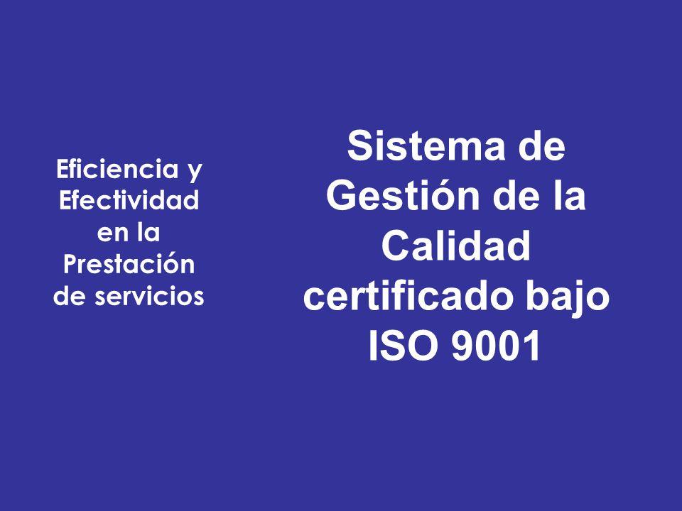 Eficiencia y Efectividad en la Prestación de servicios Sistema de Gestión de la Calidad certificado bajo ISO 9001