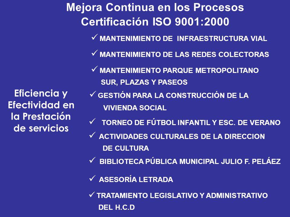 Mejora Continua en los Procesos Certificación ISO 9001:2000 Eficiencia y Efectividad en la Prestación de servicios MANTENIMIENTO DE LAS REDES COLECTOR
