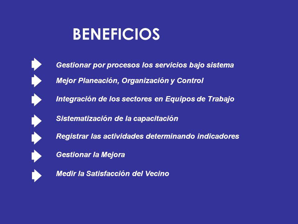 Gestionar por procesos los servicios bajo sistema Mejor Planeación, Organización y Control Integración de los sectores en Equipos de Trabajo Sistemati
