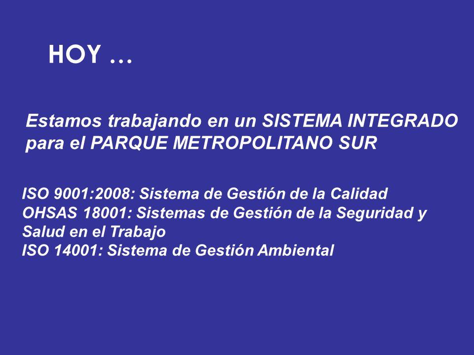 HOY … Estamos trabajando en un SISTEMA INTEGRADO para el PARQUE METROPOLITANO SUR ISO 9001:2008: Sistema de Gestión de la Calidad OHSAS 18001: Sistema