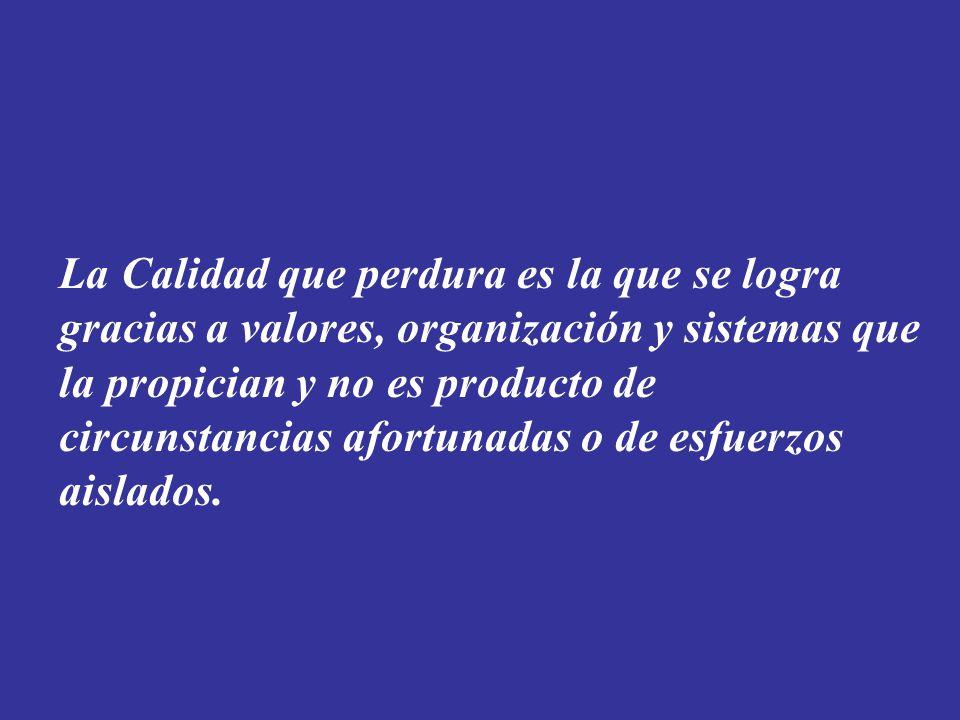 La Calidad que perdura es la que se logra gracias a valores, organización y sistemas que la propician y no es producto de circunstancias afortunadas o