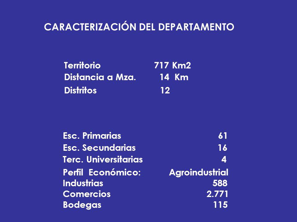 CARACTERIZACIÓN DEL DEPARTAMENTO Territorio 717 Km2 Distancia a Mza. 14 Km Distritos 12 Esc. Primarias 61 Esc. Secundarias 16 Terc. Universitarias 4 P