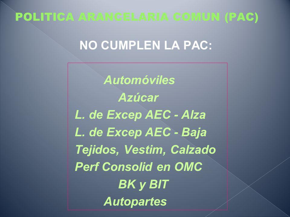 POLITICA ARANCELARIA COMUN (PAC) NO CUMPLEN LA PAC: Automóviles Azúcar L. de Excep AEC - Alza L. de Excep AEC - Baja Tejidos, Vestim, Calzado Perf Con