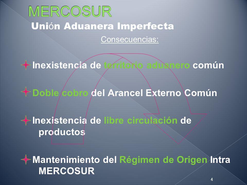 Uni ó n Aduanera Imperfecta Consecuencias: Inexistencia de territorio aduanero común Doble cobro del Arancel Externo Común Inexistencia de libre circu