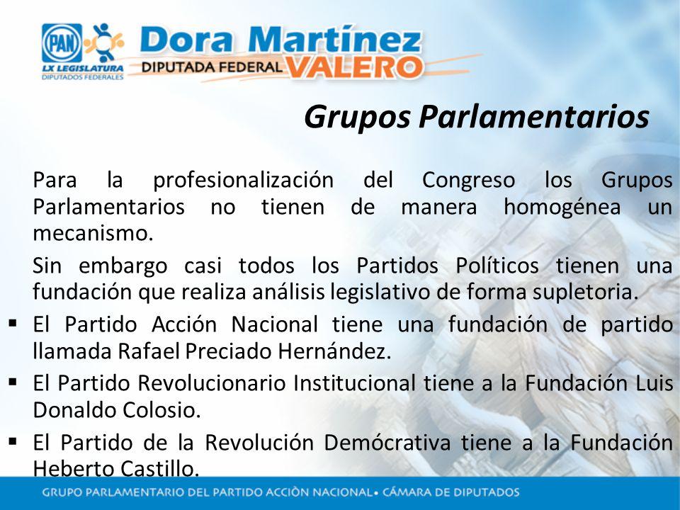 Grupos Parlamentarios Para la profesionalización del Congreso los Grupos Parlamentarios no tienen de manera homogénea un mecanismo.