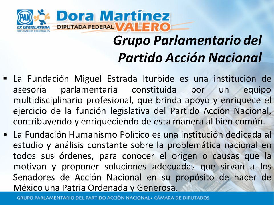 Grupo Parlamentario del Partido Acción Nacional La Fundación Miguel Estrada Iturbide es una institución de asesoría parlamentaria constituida por un equipo multidisciplinario profesional, que brinda apoyo y enriquece el ejercicio de la función legislativa del Partido Acción Nacional, contribuyendo y enriqueciendo de esta manera al bien común.
