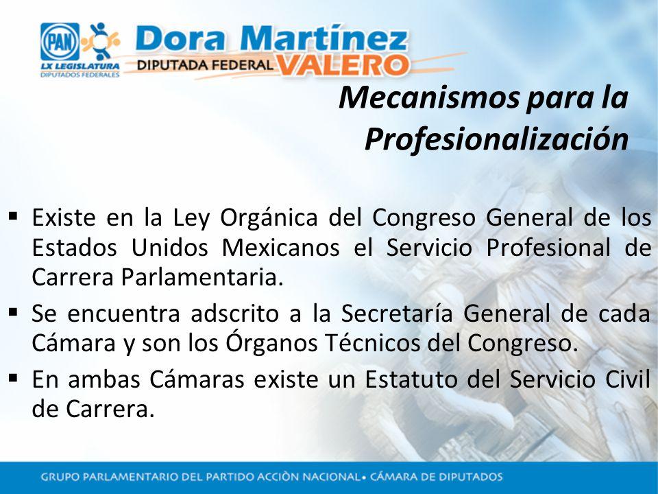 Mecanismos para la Profesionalización Existe en la Ley Orgánica del Congreso General de los Estados Unidos Mexicanos el Servicio Profesional de Carrera Parlamentaria.