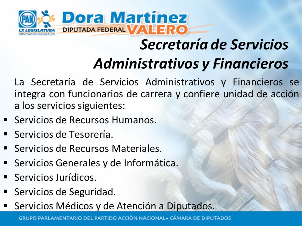 Secretaría de Servicios Administrativos y Financieros La Secretaría de Servicios Administrativos y Financieros se integra con funcionarios de carrera y confiere unidad de acción a los servicios siguientes: Servicios de Recursos Humanos.
