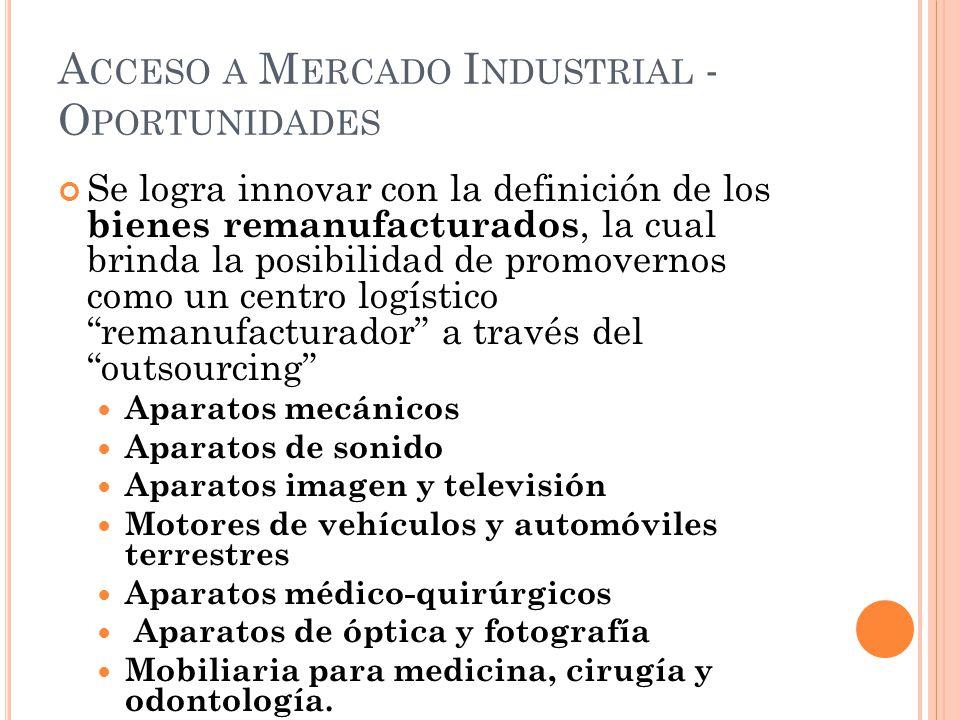 A CCESO A M ERCADO I NDUSTRIAL - O PORTUNIDADES Se logra innovar con la definición de los bienes remanufacturados, la cual brinda la posibilidad de pr