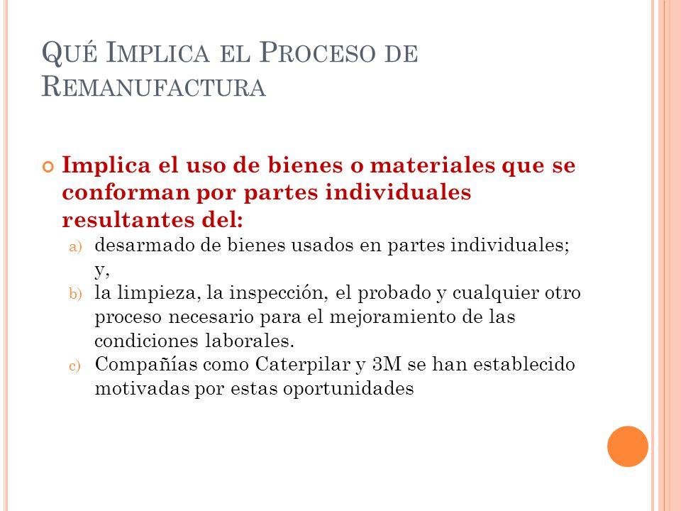 Q UÉ I MPLICA EL P ROCESO DE R EMANUFACTURA Implica el uso de bienes o materiales que se conforman por partes individuales resultantes del: a) desarma