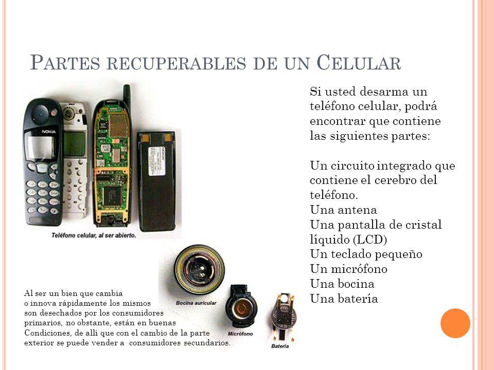 P ARTES RECUPERABLES DE UN C ELULAR Si usted desarma un teléfono celular, podrá encontrar que contiene las siguientes partes: Un circuito integrado qu