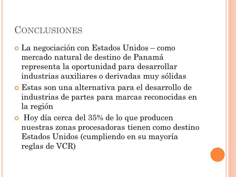 C ONCLUSIONES La negociación con Estados Unidos – como mercado natural de destino de Panamá representa la oportunidad para desarrollar industrias auxi