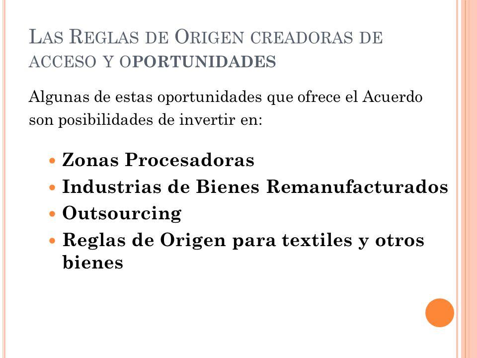 L AS R EGLAS DE O RIGEN CREADORAS DE ACCESO Y O PORTUNIDADES Algunas de estas oportunidades que ofrece el Acuerdo son posibilidades de invertir en: Zo