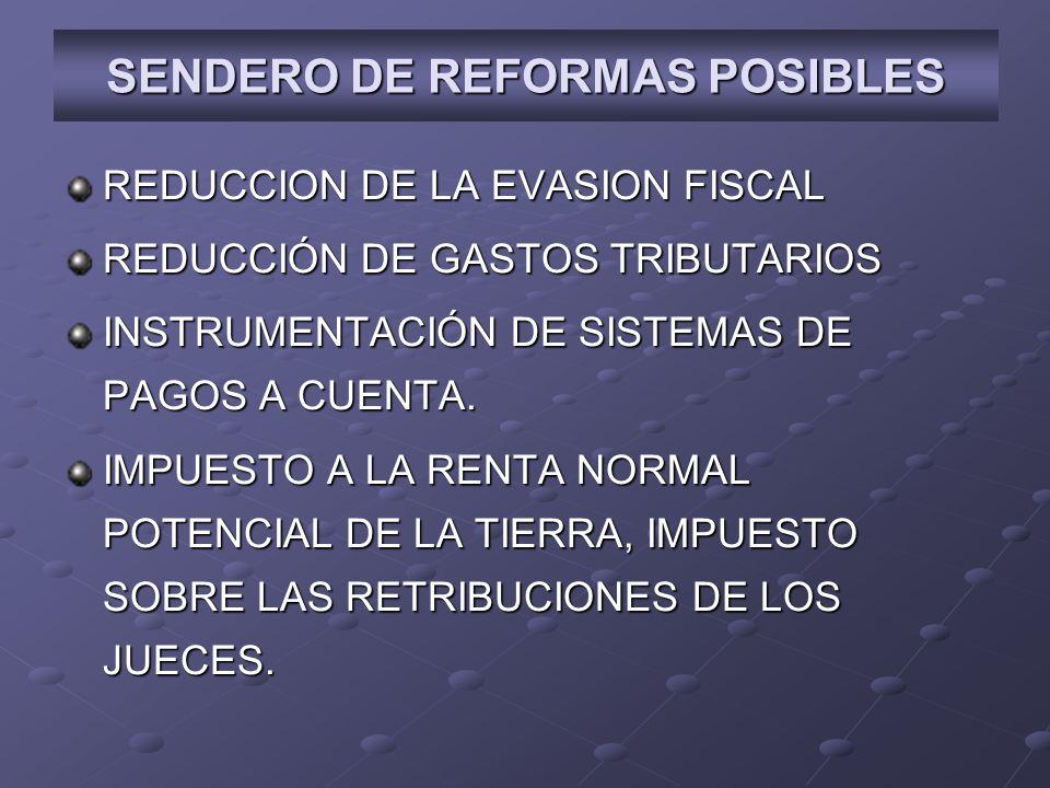 REDUCCION DE LA EVASION FISCAL REDUCCIÓN DE GASTOS TRIBUTARIOS INSTRUMENTACIÓN DE SISTEMAS DE PAGOS A CUENTA.