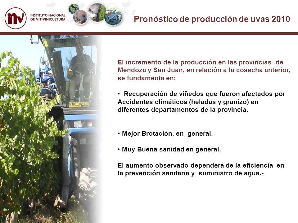 Pronóstico de producción de uvas 2010 El incremento de la producción en las provincias de Mendoza y San Juan, en relación a la cosecha anterior, se fundamenta en: Recuperación de viñedos que fueron afectados por Accidentes climáticos (heladas y granizo) en diferentes departamentos de la provincia.