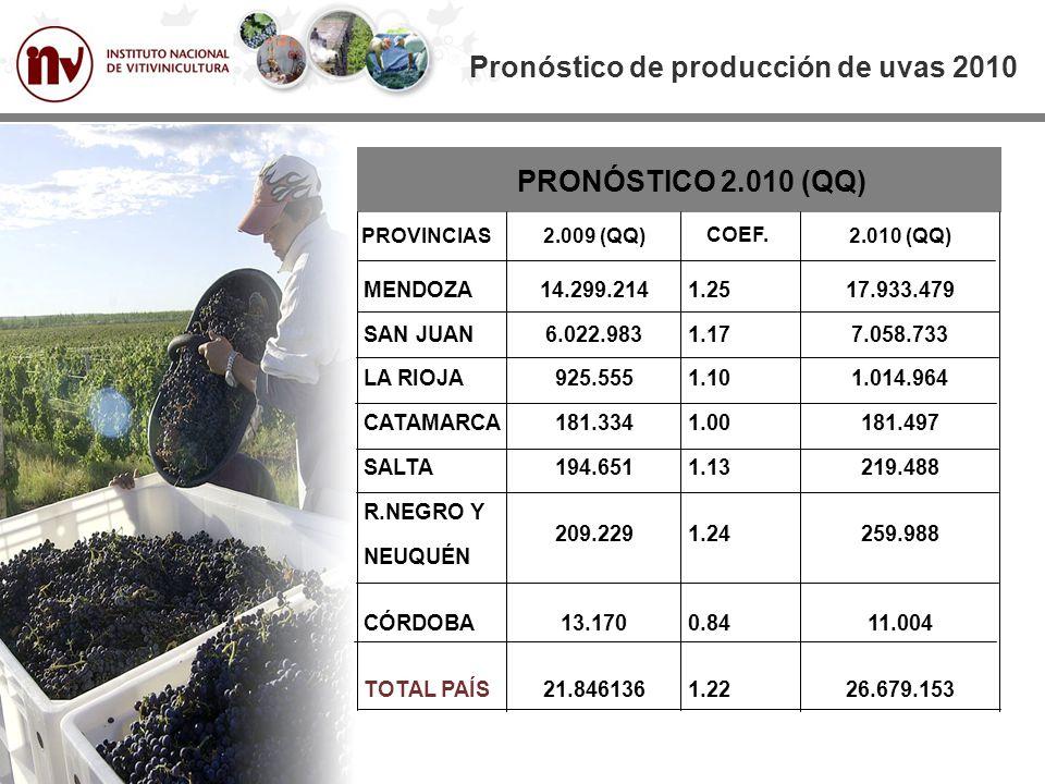 PRONÓSTICO 2.010 (QQ) MENDOZA SAN JUAN LA RIOJA CATAMARCA SALTA R.NEGRO Y NEUQUÉN CÓRDOBA TOTAL PAÍS Pronóstico de producción de uvas 2010 PROVINCIAS 14.299.214 6.022.983 925.555 181.334 194.651 209.229 13.170 21.846136 2.009 (QQ) 1.25 1.17 1.10 1.00 1.13 1.24 0.84 1.22 COEF.