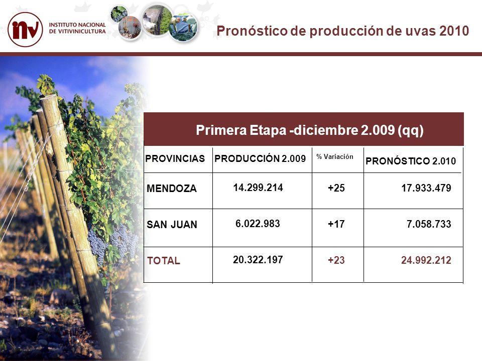 Pronóstico de producción de uvas 2010 Primera Etapa -diciembre 2.009 (qq) PROVINCIASPRODUCCIÓN 2.009 % Variación MENDOZA SAN JUAN TOTAL 14.299.214 6.022.983 20.322.197 +25 +17 +23 17.933.479 7.058.733 24.992.212 PRONÓSTICO 2.010