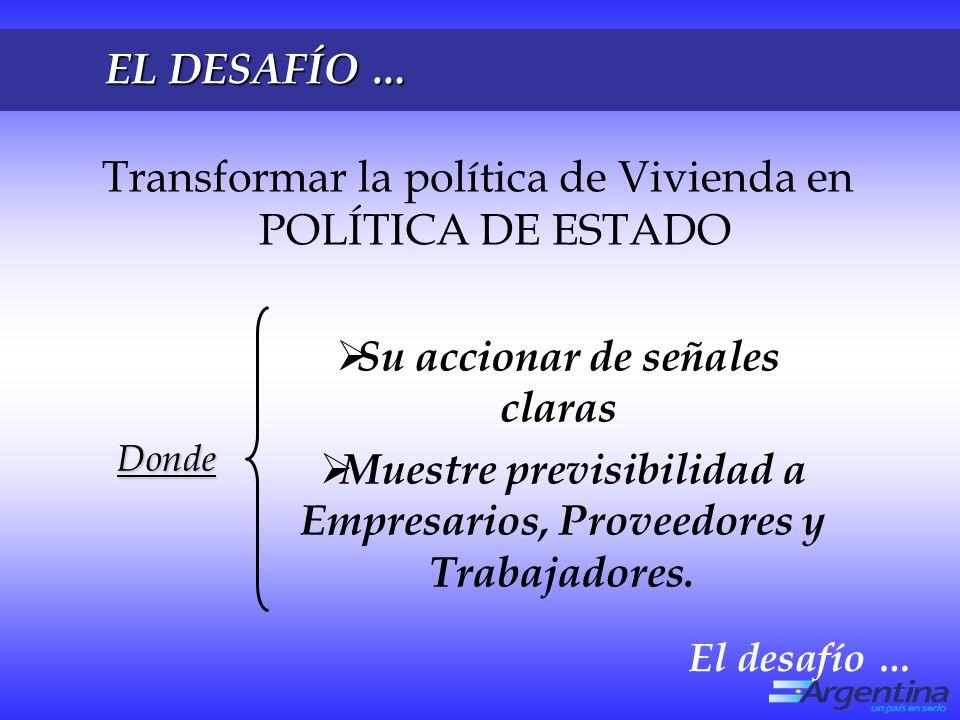 EL DESAFÍO … Transformar la política de Vivienda en POLÍTICA DE ESTADO Su accionar de señales claras Muestre previsibilidad a Empresarios, Proveedores y Trabajadores.