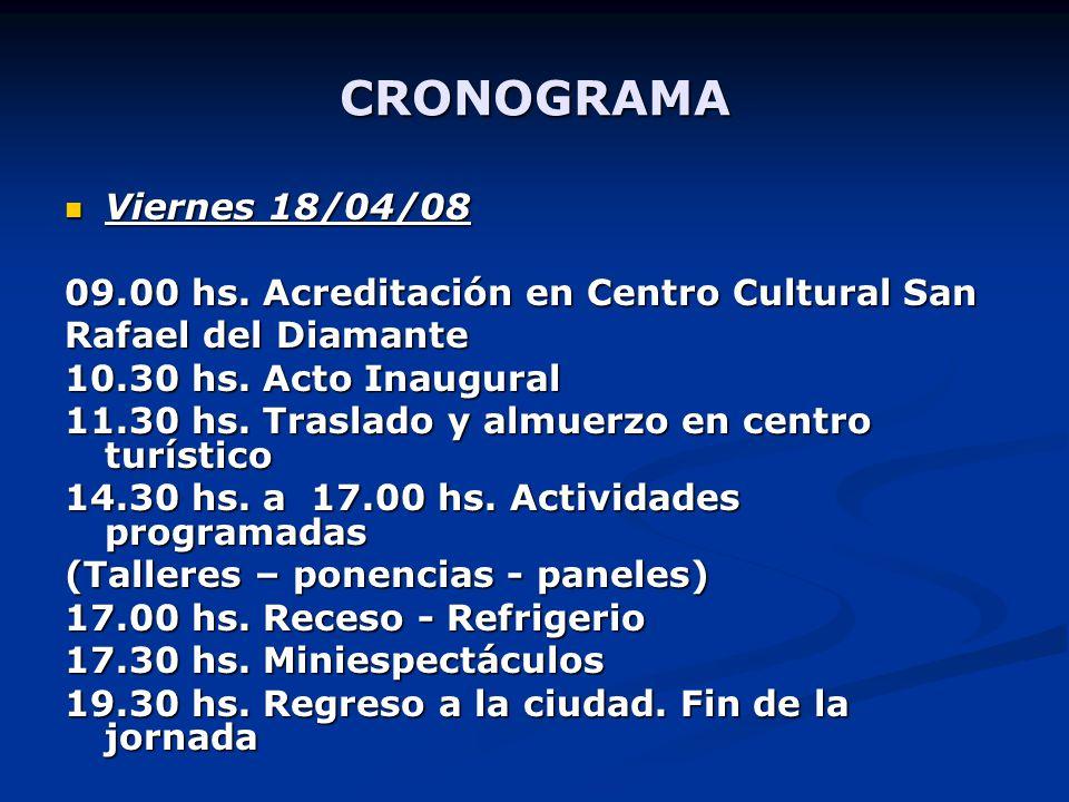 CRONOGRAMA Viernes 18/04/08 09.00 hs.