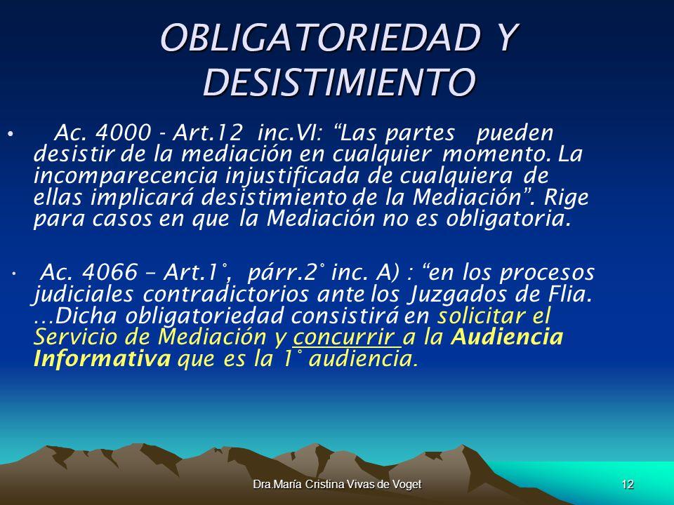 Dra.María Cristina Vivas de Voget12 OBLIGATORIEDAD Y DESISTIMIENTO Ac. 4000 - Art.12 inc.VI: Las partes pueden desistir de la mediación en cualquier m