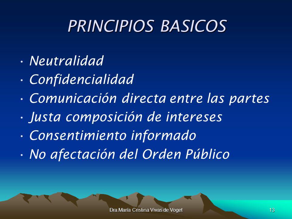 Dra.María Cristina Vivas de Voget13 PRINCIPIOS BASICOS Neutralidad Confidencialidad Comunicación directa entre las partes Justa composición de interes