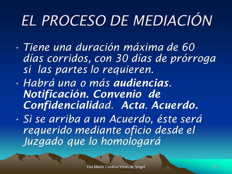 Dra.María Cristina Vivas de Voget17 EL PROCESO DE MEDIACIÓN Tiene una duración máxima de 60 días corridos, con 30 días de prórroga si las partes lo re