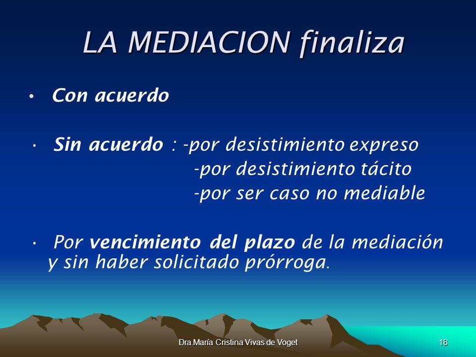 Dra.María Cristina Vivas de Voget18 LA MEDIACION finaliza LA MEDIACION finaliza Con acuerdo Sin acuerdo : -por desistimiento expreso -por desistimient