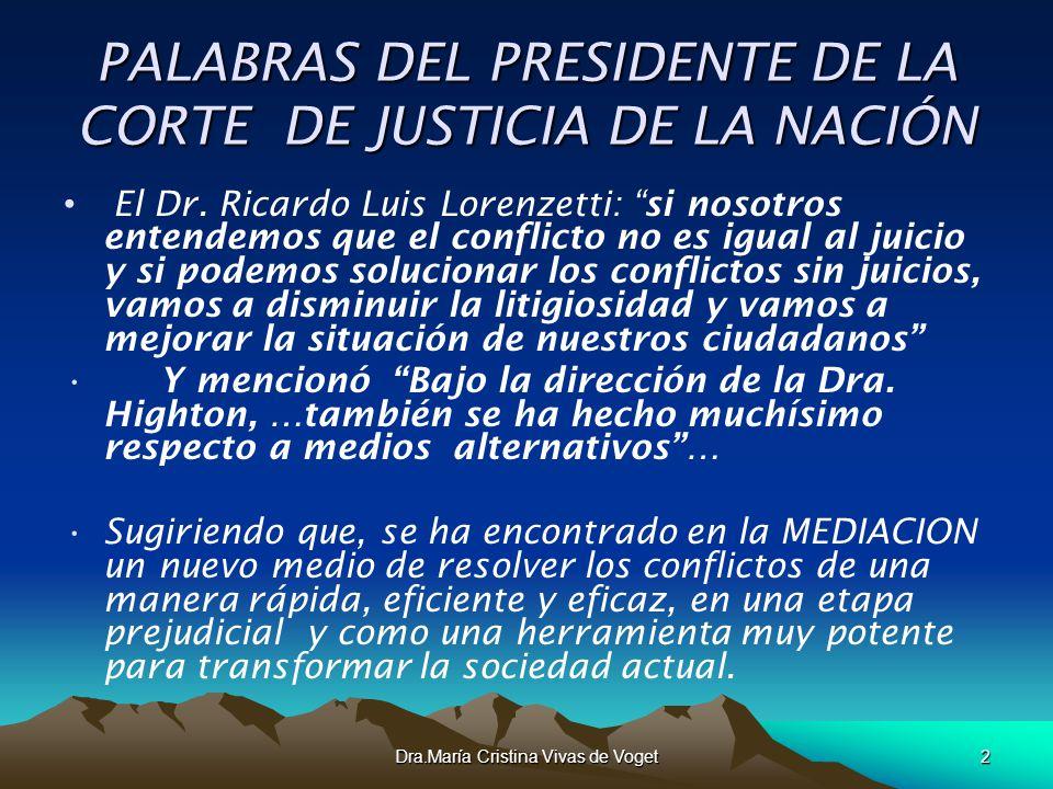 Dra.María Cristina Vivas de Voget2 PALABRAS DEL PRESIDENTE DE LA CORTE DE JUSTICIA DE LA NACIÓN El Dr. Ricardo Luis Lorenzetti: si nosotros entendemos
