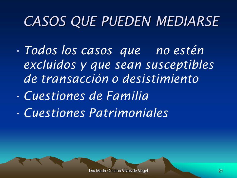 Dra.María Cristina Vivas de Voget21 CASOS QUE PUEDEN MEDIARSE CASOS QUE PUEDEN MEDIARSE Todos los casos que no estén excluidos y que sean susceptibles