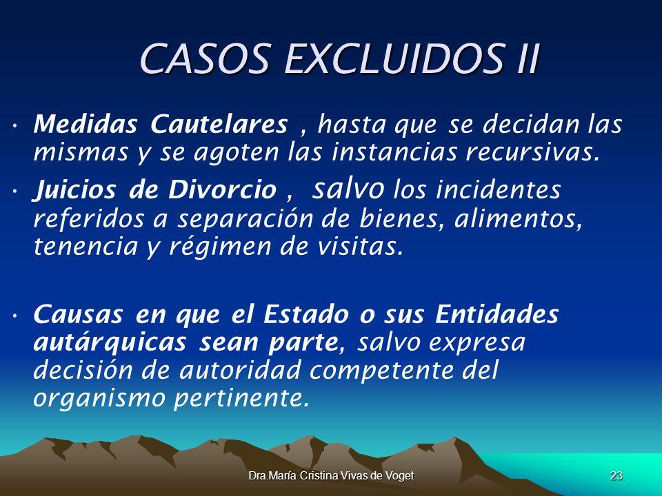 Dra.María Cristina Vivas de Voget23 CASOS EXCLUIDOS II CASOS EXCLUIDOS II Medidas Cautelares, hasta que se decidan las mismas y se agoten las instanci