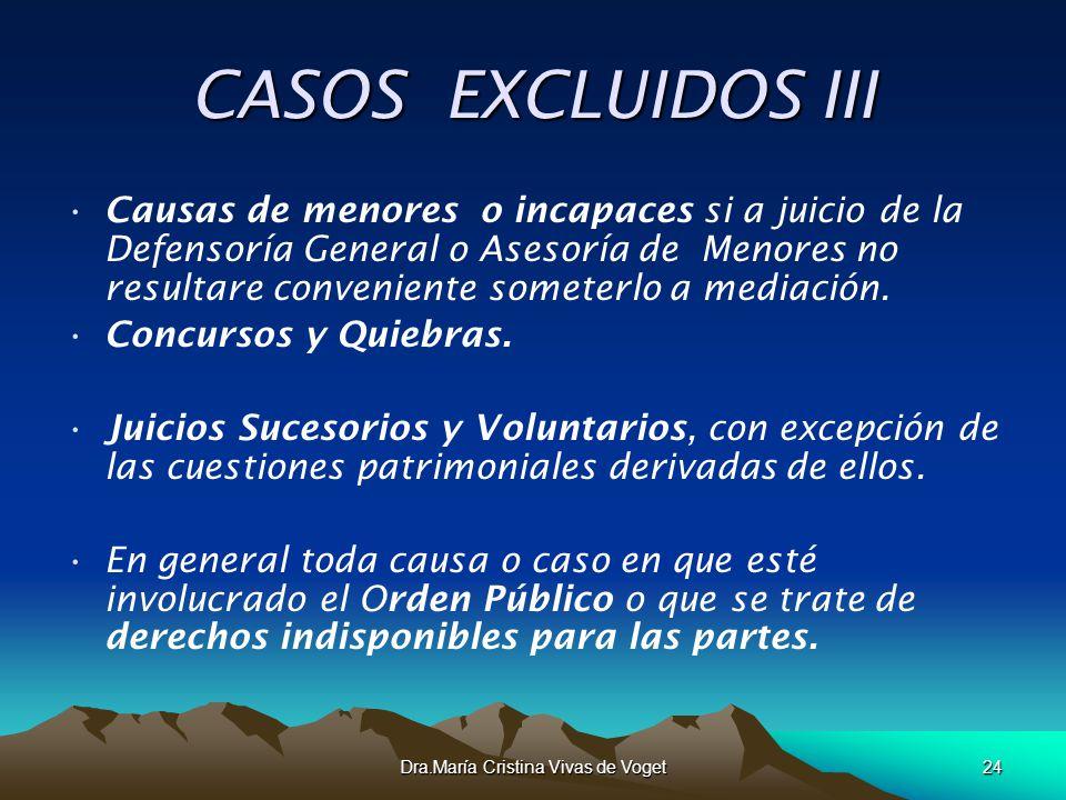 Dra.María Cristina Vivas de Voget24 CASOS EXCLUIDOS III Causas de menores o incapaces si a juicio de la Defensoría General o Asesoría de Menores no re
