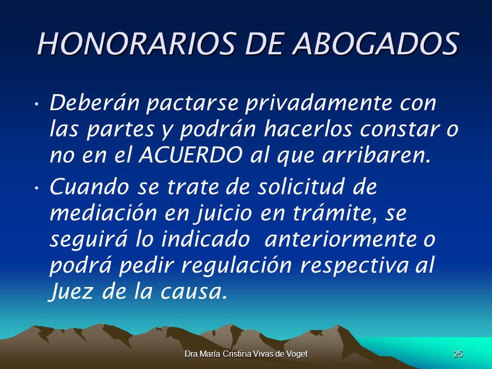 Dra.María Cristina Vivas de Voget25 HONORARIOS DE ABOGADOS Deberán pactarse privadamente con las partes y podrán hacerlos constar o no en el ACUERDO a