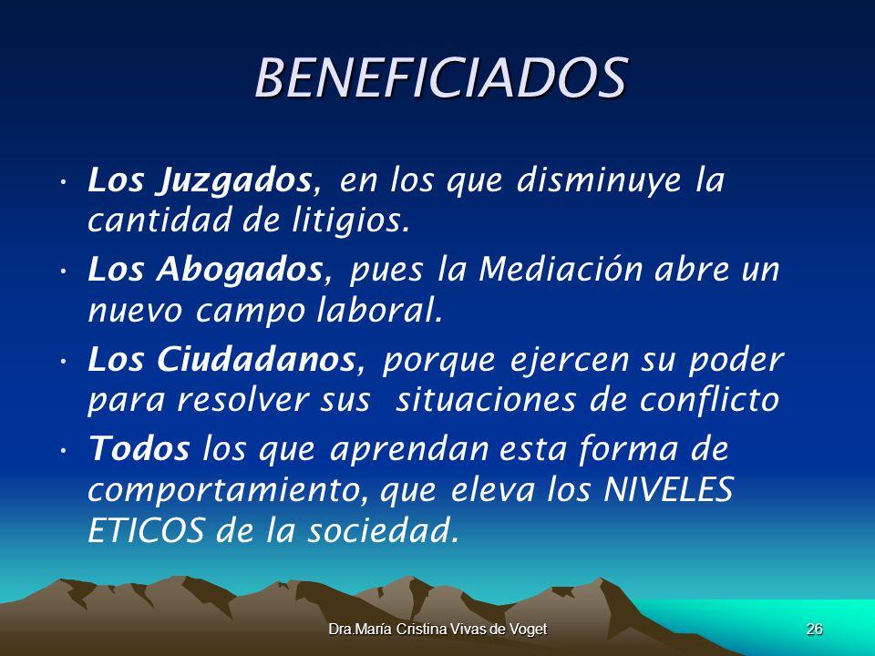 Dra.María Cristina Vivas de Voget26 BENEFICIADOS Los Juzgados, en los que disminuye la cantidad de litigios. Los Abogados, pues la Mediación abre un n