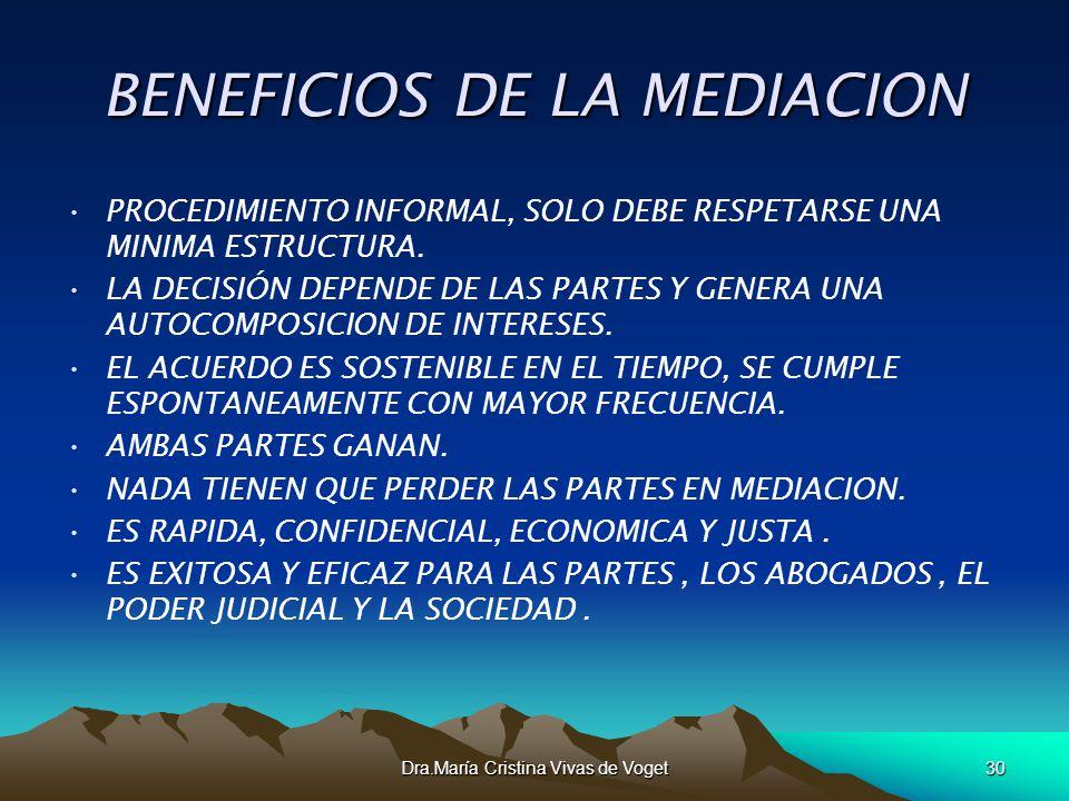 Dra.María Cristina Vivas de Voget30 BENEFICIOS DE LA MEDIACION PROCEDIMIENTO INFORMAL, SOLO DEBE RESPETARSE UNA MINIMA ESTRUCTURA. LA DECISIÓN DEPENDE