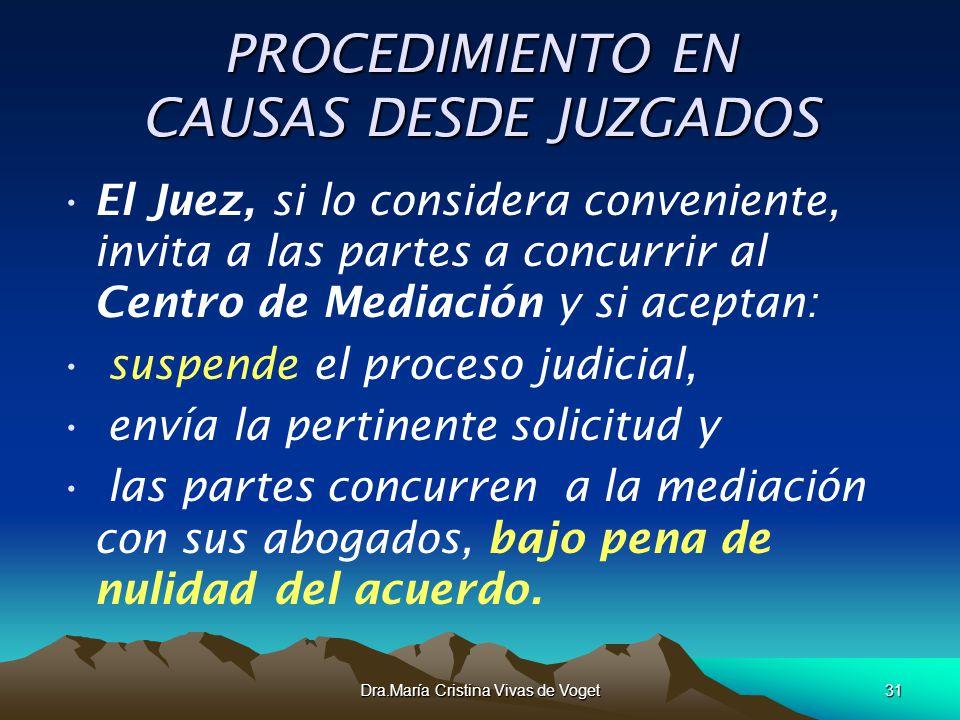 Dra.María Cristina Vivas de Voget31 PROCEDIMIENTO EN CAUSAS DESDE JUZGADOS El Juez, si lo considera conveniente, invita a las partes a concurrir al Ce