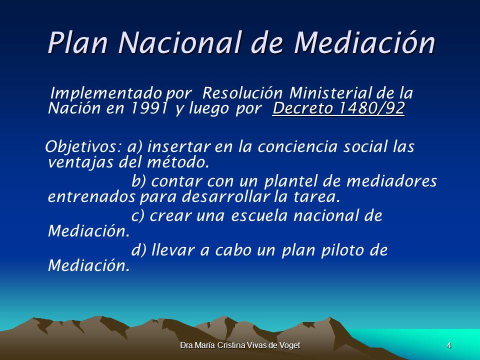 Dra.María Cristina Vivas de Voget4 Plan Nacional de Mediación Decreto 1480/92 Implementado por Resolución Ministerial de la Nación en 1991 y luego por