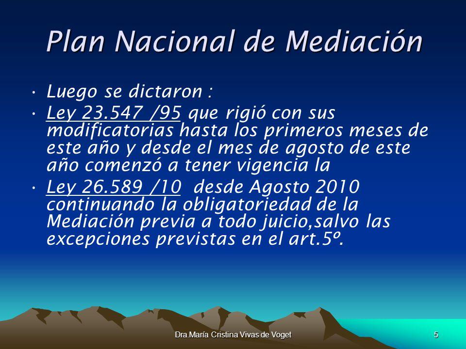 Dra.María Cristina Vivas de Voget5 Plan Nacional de Mediación Luego se dictaron : Ley 23.547 /95 que rigió con sus modificatorias hasta los primeros m