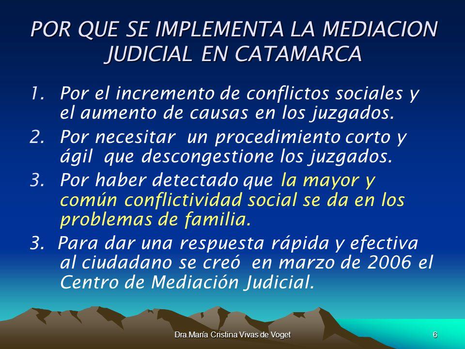 Dra.María Cristina Vivas de Voget6 POR QUE SE IMPLEMENTA LA MEDIACION JUDICIAL EN CATAMARCA 1.Por el incremento de conflictos sociales y el aumento de