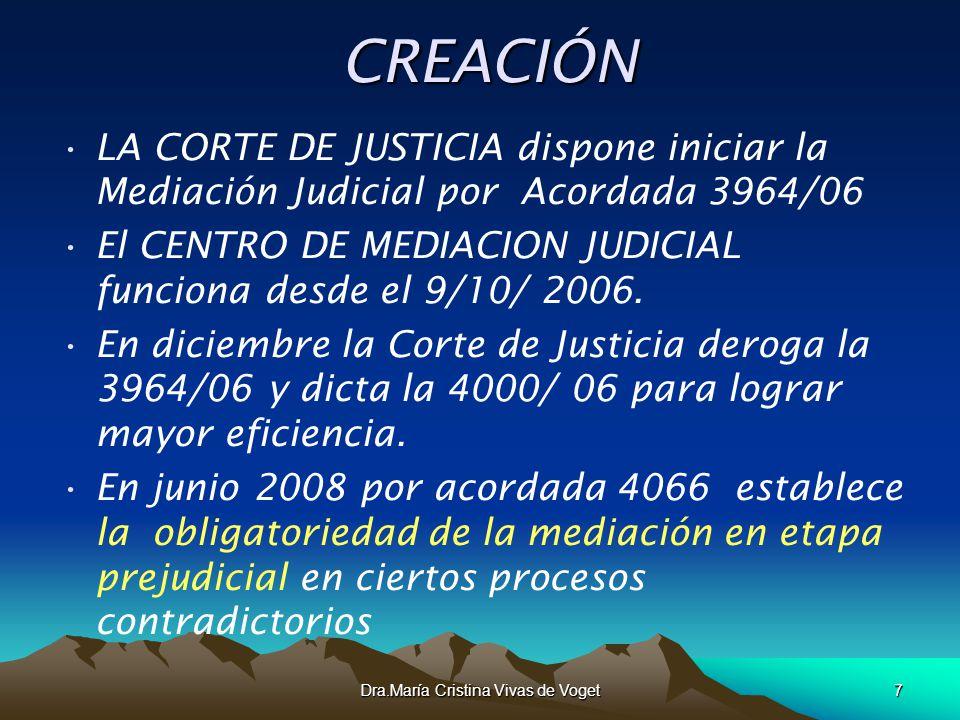 Dra.María Cristina Vivas de Voget7CREACIÓN LA CORTE DE JUSTICIA dispone iniciar la Mediación Judicial por Acordada 3964/06 El CENTRO DE MEDIACION JUDI