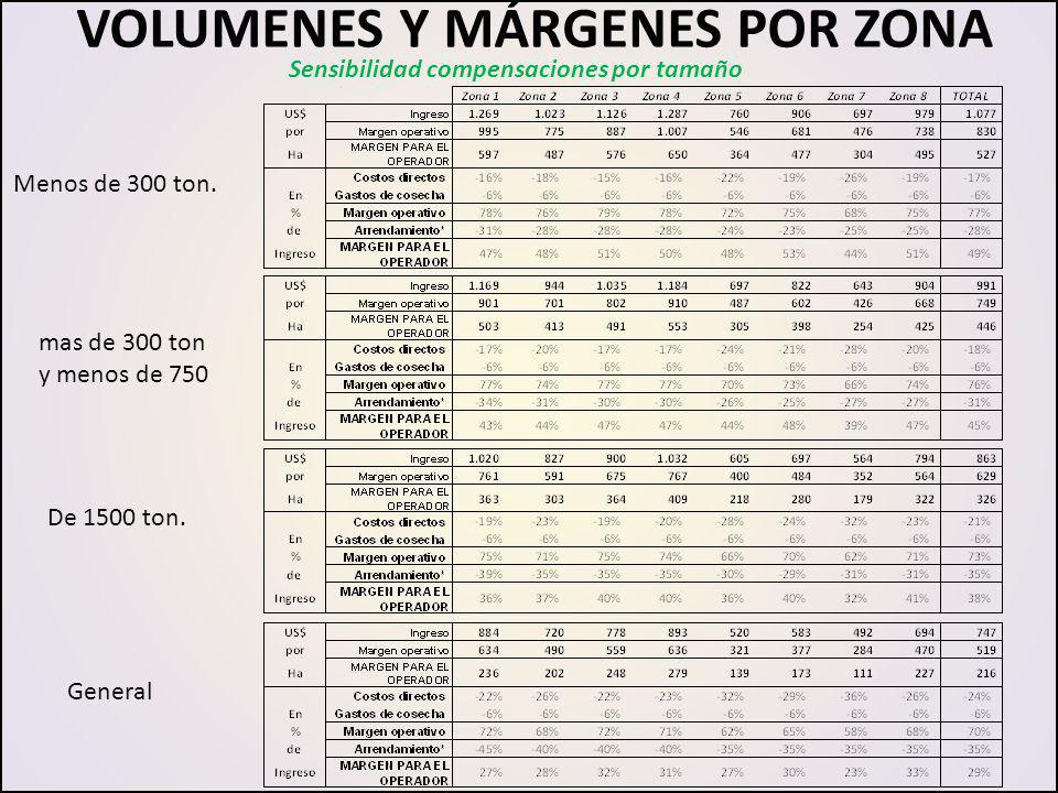 VOLUMENES Y MÁRGENES POR ZONA De 1500 ton. General Menos de 300 ton. mas de 300 ton y menos de 750 Sensibilidad compensaciones por tamaño