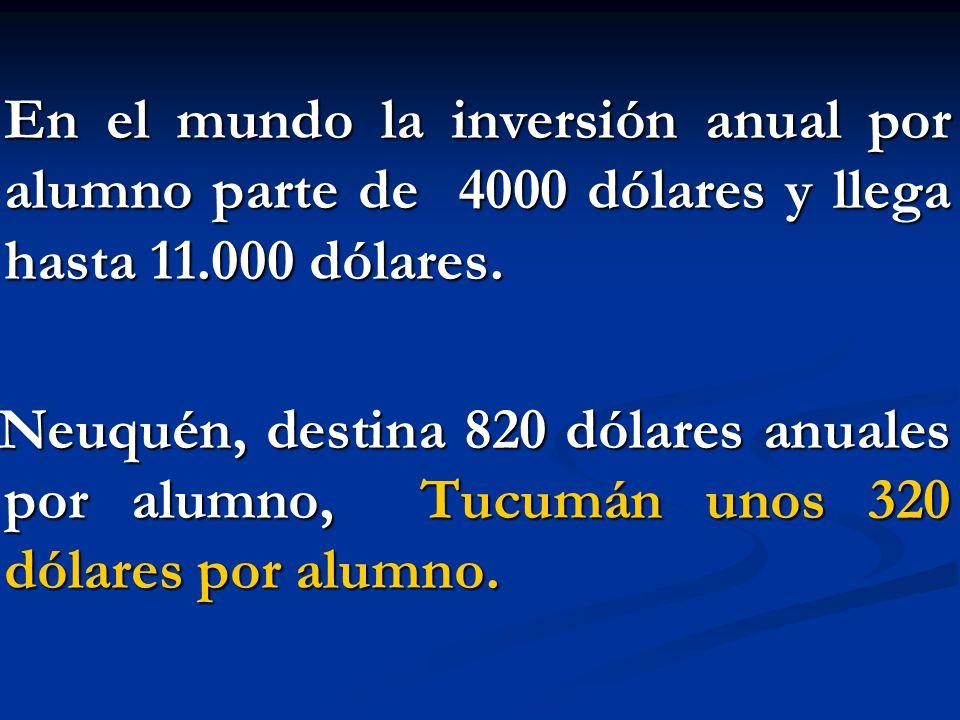 En el mundo la inversión anual por alumno parte de 4000 dólares y llega hasta 11.000 dólares. En el mundo la inversión anual por alumno parte de 4000