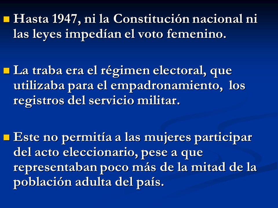 Hasta 1947, ni la Constitución nacional ni las leyes impedían el voto femenino. Hasta 1947, ni la Constitución nacional ni las leyes impedían el voto