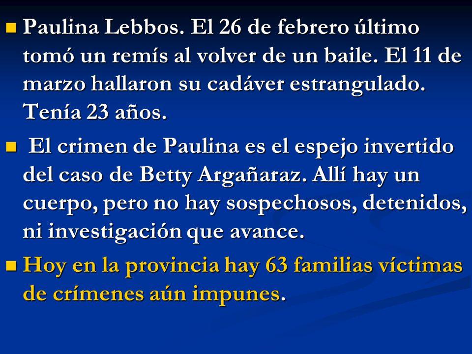 Paulina Lebbos. El 26 de febrero último tomó un remís al volver de un baile. El 11 de marzo hallaron su cadáver estrangulado. Tenía 23 años. Paulina L