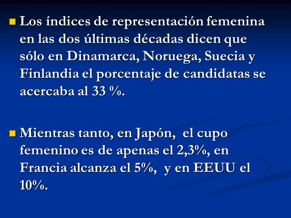 Los índices de representación femenina en las dos últimas décadas dicen que sólo en Dinamarca, Noruega, Suecia y Finlandia el porcentaje de candidatas