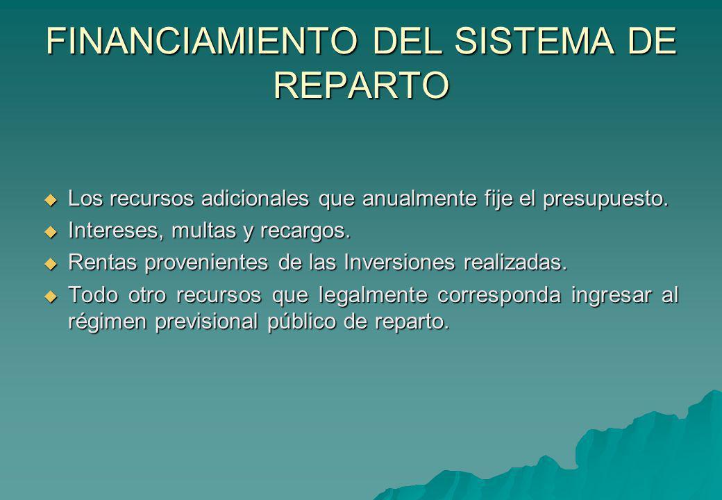FINANCIAMIENTO DEL SISTEMA DE REPARTO Los recursos adicionales que anualmente fije el presupuesto. Los recursos adicionales que anualmente fije el pre