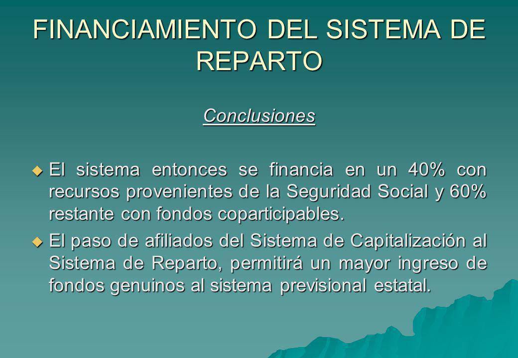 FINANCIAMIENTO DEL SISTEMA DE REPARTO Conclusiones El sistema entonces se financia en un 40% con recursos provenientes de la Seguridad Social y 60% re
